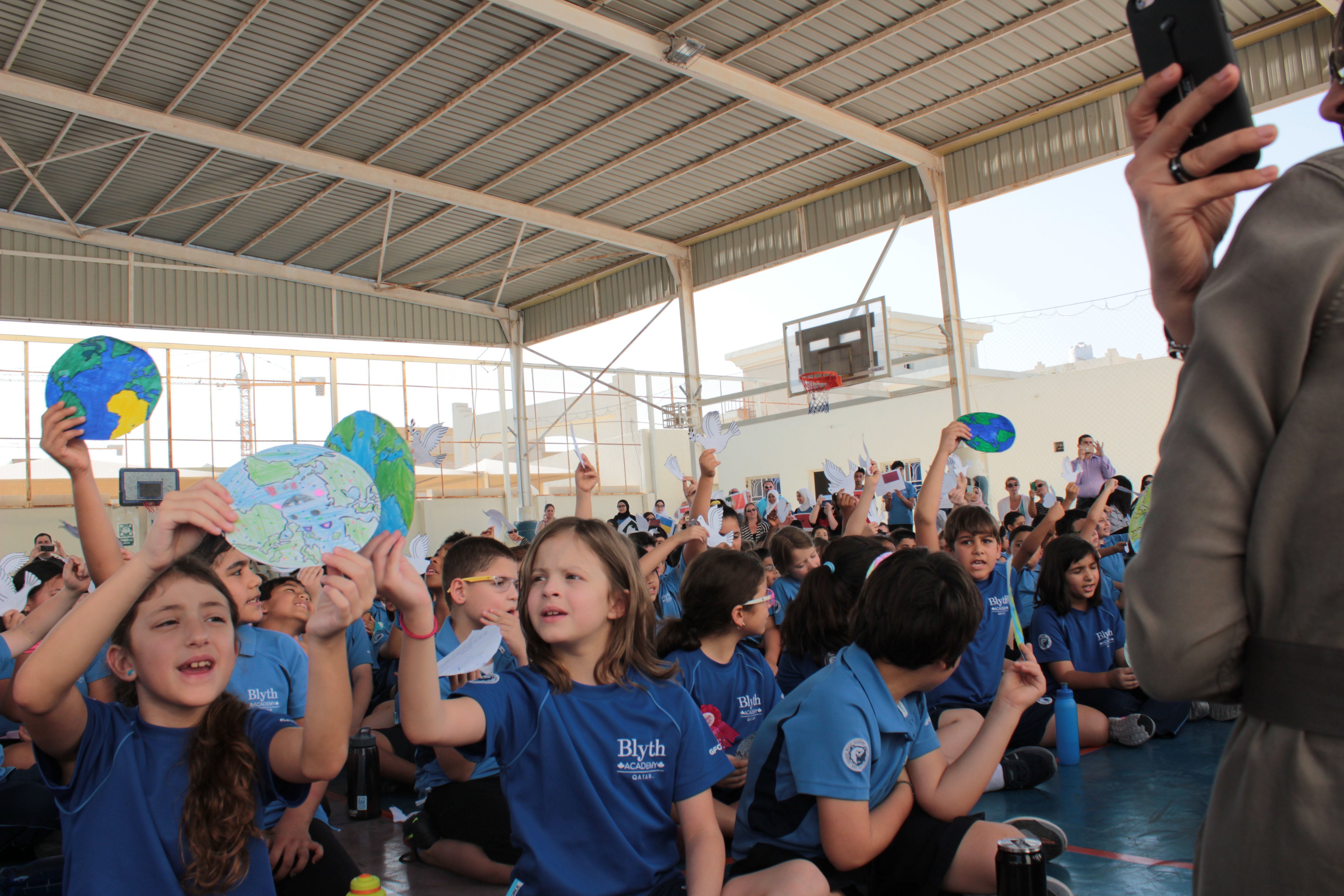 Students at Peace Day assembly at Blyth Academy Qatar