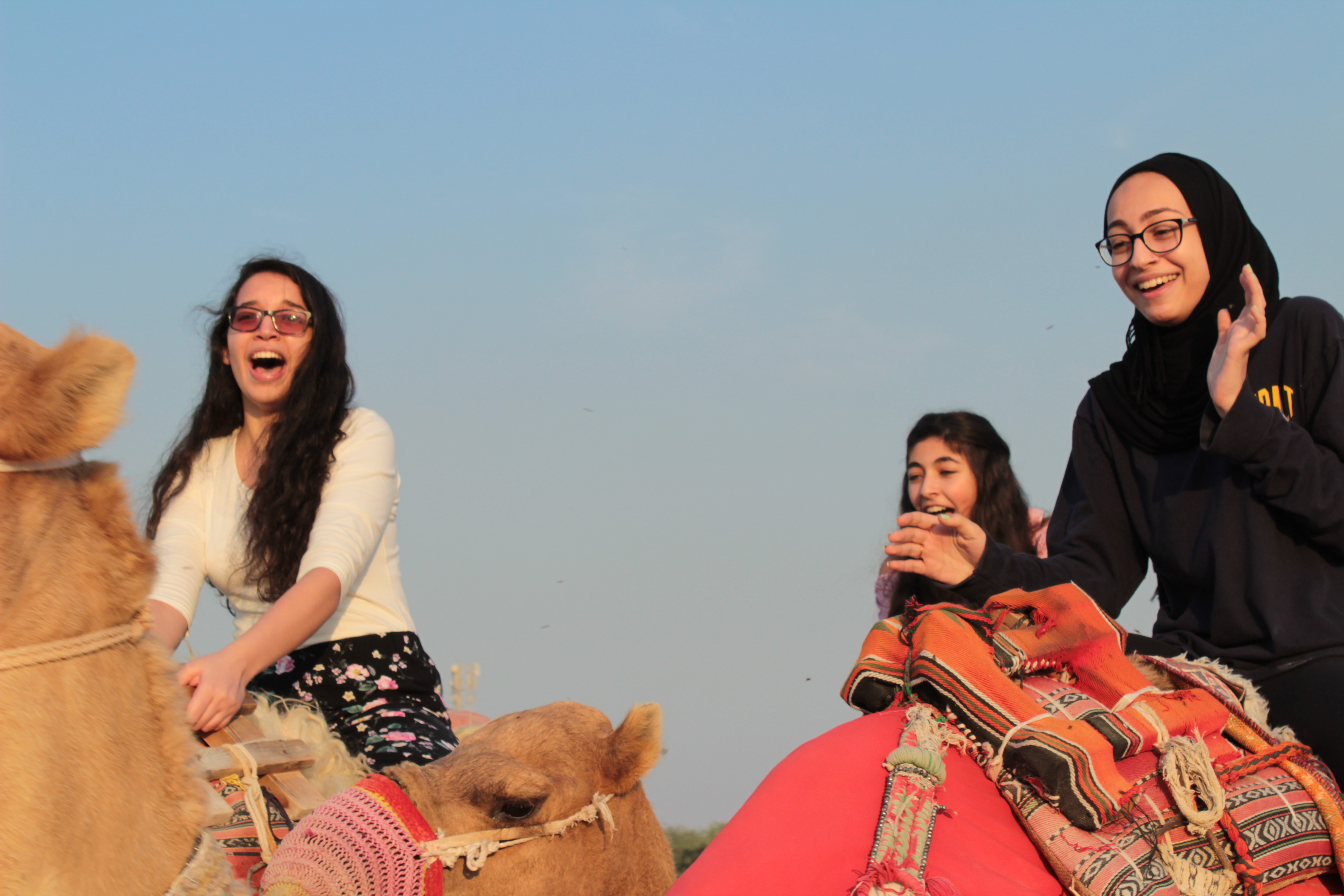 students smiling on top of camels