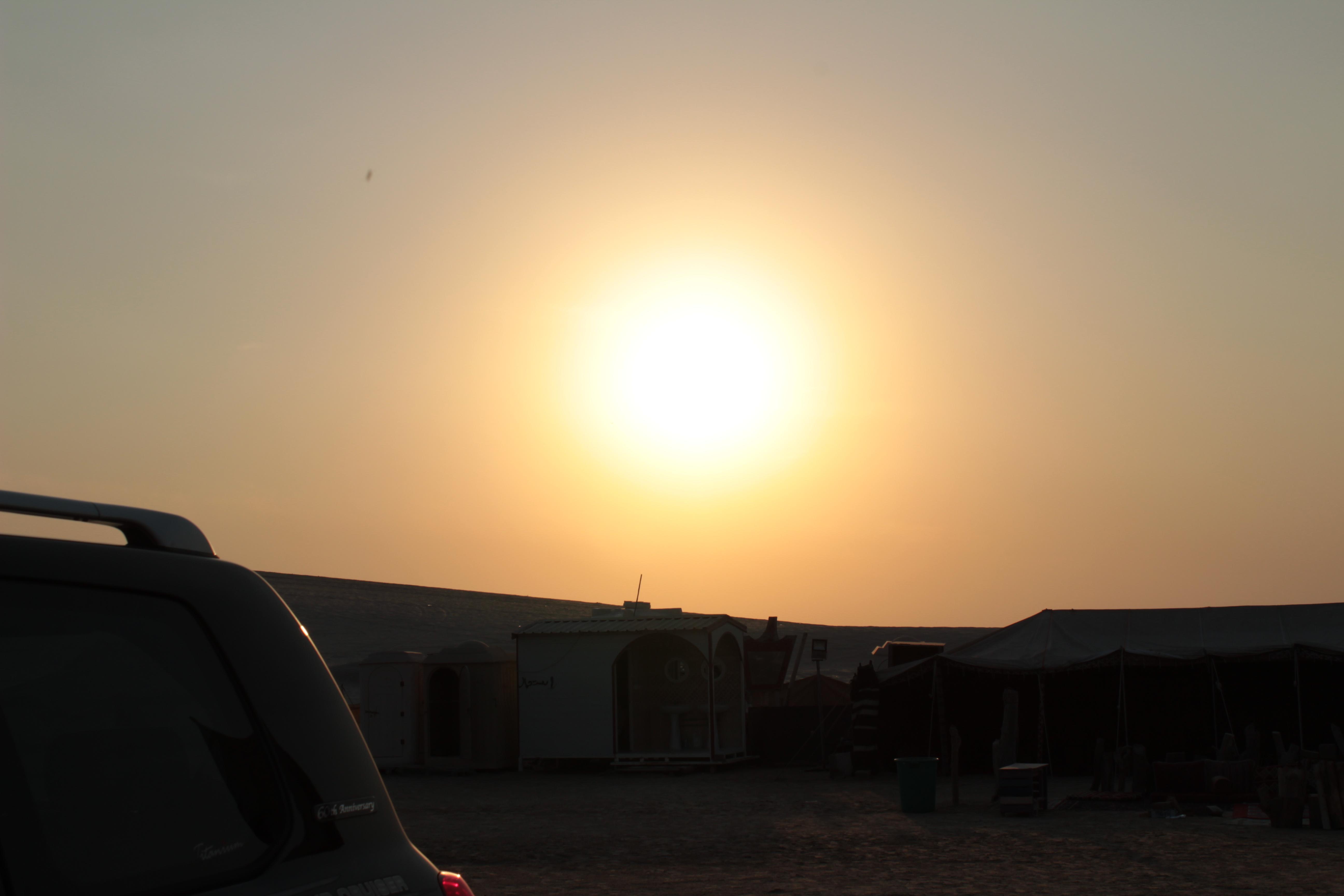 setting sun in the desert